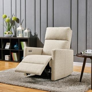 ProLounger Tan Linen Power Wall Hugger Reclining Chair with USB Port