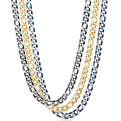 Crucible Two Tone Matte Stainless Steel Figaro Chain Necklace (7.5mm) - 24 inches