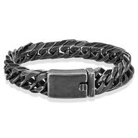 Crucible Antiqued Stainless Steel Curb Chain Bracelet (13.5mm) - 8.75 inches