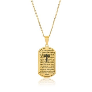 Crucible Gold Plated Stainless Steel Lord's Prayer Pendant Necklace - 24 inches