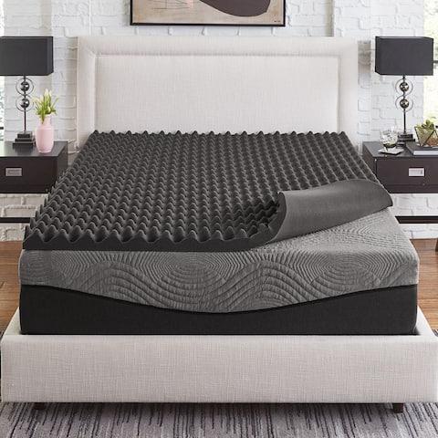 Slumber Solutions Active 3-inch Big Bump Charcoal Memory Foam Topper