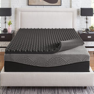 Link to Slumber Solutions Active 3-inch Big Bump Charcoal Memory Foam Topper Similar Items in Mattress Pads & Toppers