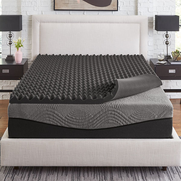 Slumber Solutions Active 3-inch Big Bump Charcoal Memory Foam Topper. Opens flyout.