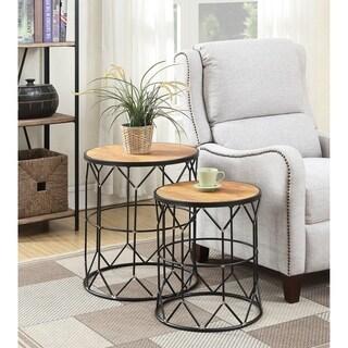 Convenience Concepts Sarasota Brown Wood Metal Nesting End Table (Set of 2)