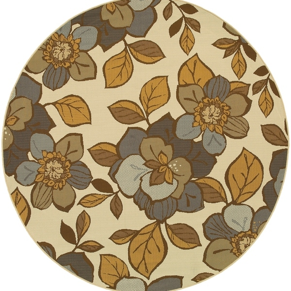 """Round Rug/ Bali 7 Ft.10 In. X 7 Ft.10 In./ Outdoor/ Floral - 7'10"""" Round"""