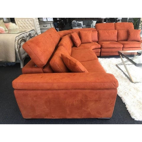 Mardini Italian Design Mid Century Modern Premium Quality Orange Sectional Sofa