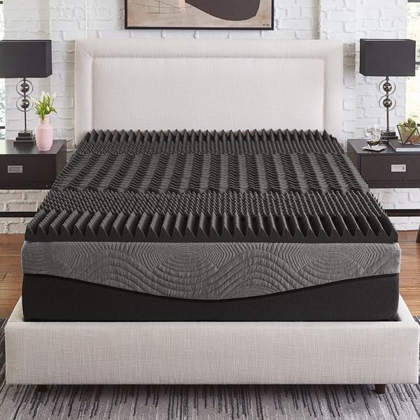 Slumber Solutions Active 2.5-inch 5-Zone Charcoal Memory Foam Topper