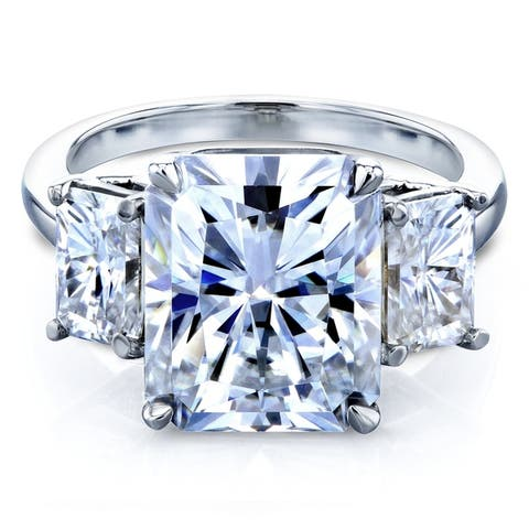 Annello by Kobelli 14k White Gold 6 3/4 Carat TGW 3 Stone Radiant Cut Forever One Moissanite Statement Engagement Ring (DEF/VS)