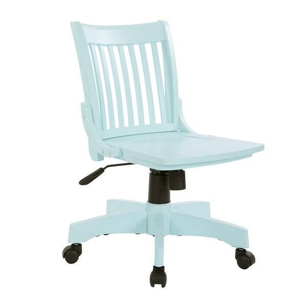 Deluxe Armless Wood Bankers Chair in Mint finish