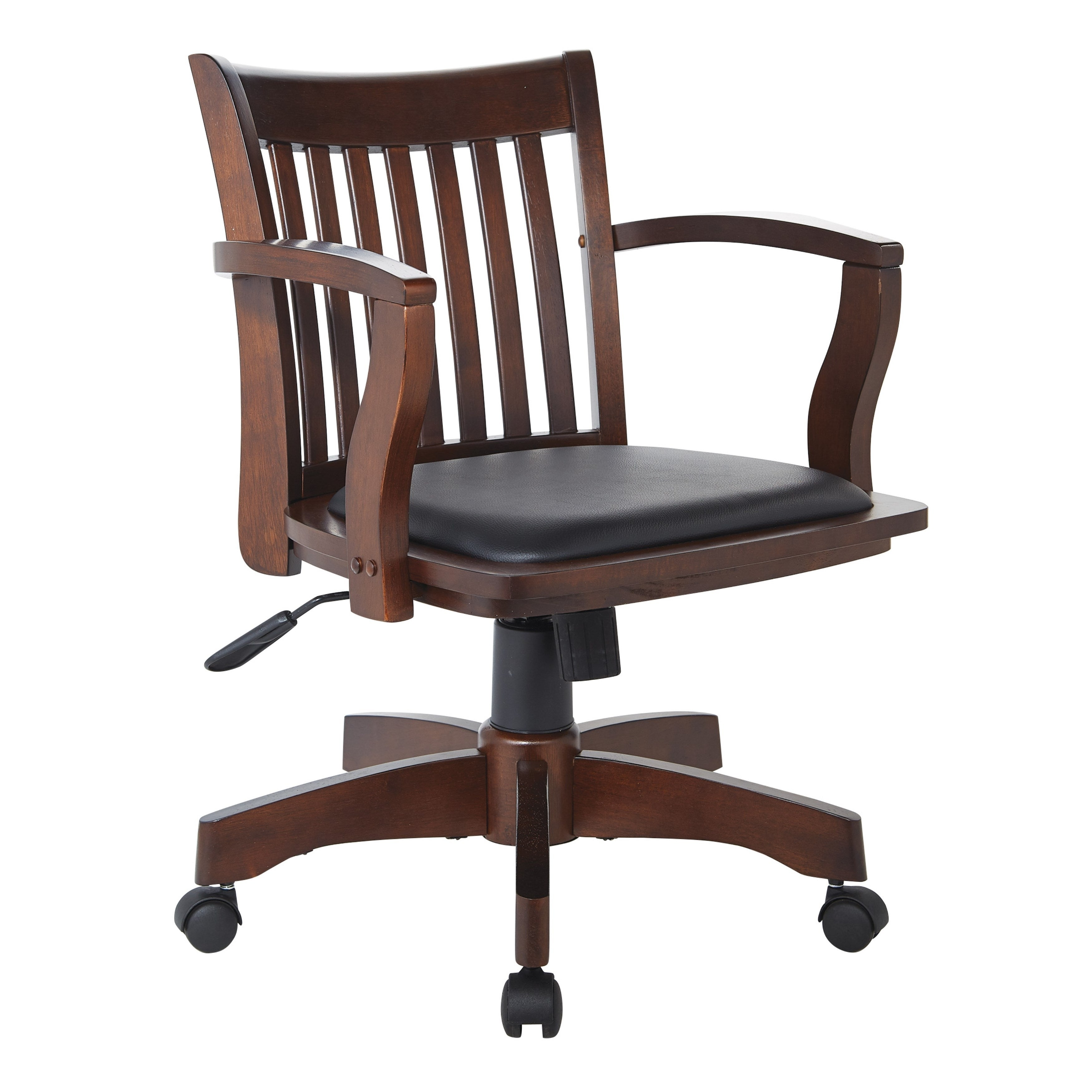Attirant OSP Home Furnishings Deluxe Wood Bankers Chair With Vinyl Padded Seat In