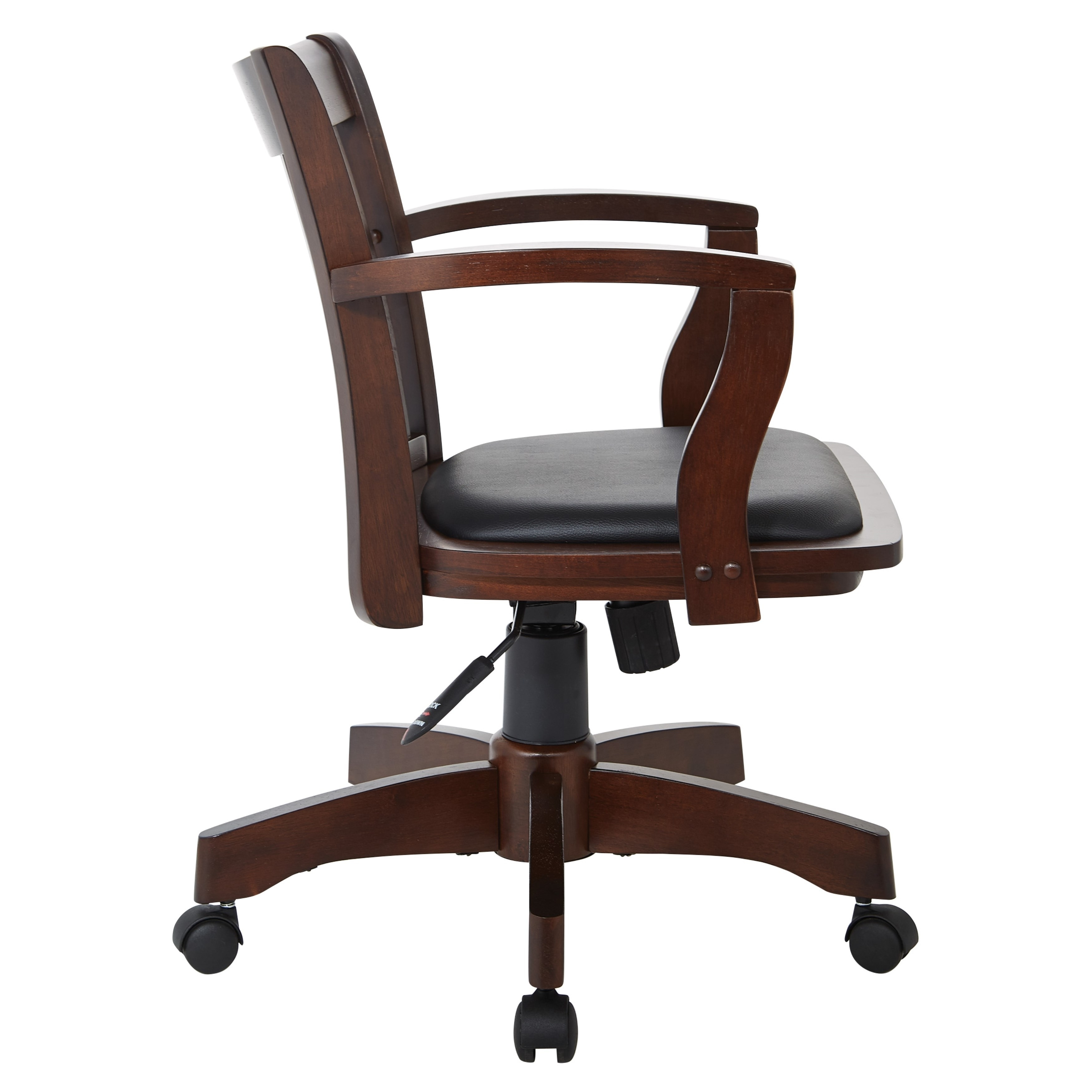 Osp Home Furnishings Deluxe Wood Bankers Chair With Vinyl Padded Seat In Espresso Finish And Black Vinyl Fabric