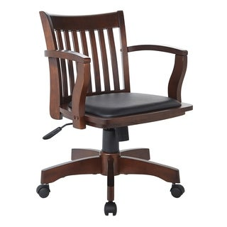 OSP Designs Deluxe Wood Bankers Chair with Vinyl Padded Seat in Espresso Finish and Black Vinyl Fabric - N/A