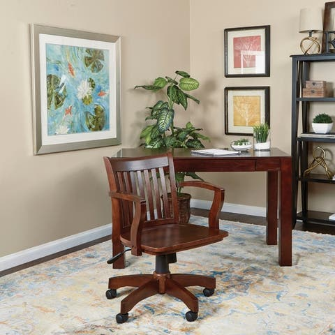 OSP Home Furnishings Deluxe Wood Bankers Chair with Wood Seat in Espresso Wood Finish