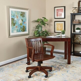 OSP Designs Deluxe Wood Bankers Chair with Wood Seat in Espresso Wood Finish - N/A