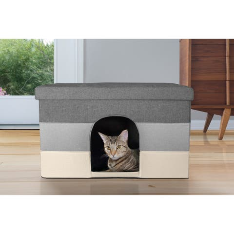 FurHaven Ottoman & Footstool Dual Purpose Pet House for Small Dogs & Cats