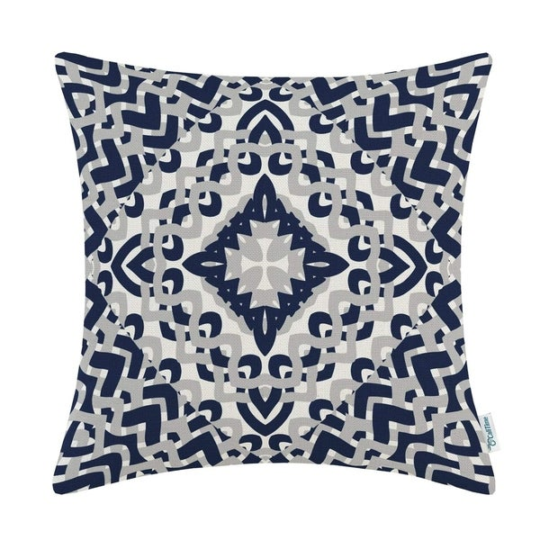 Modern Geometric Compass 18 X 18 inches Navy Blue Grey