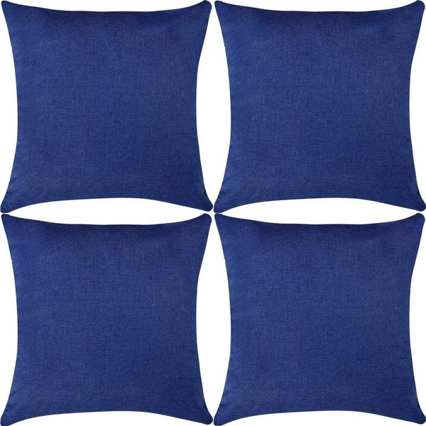 Linen Throw Pillow Covers Navy