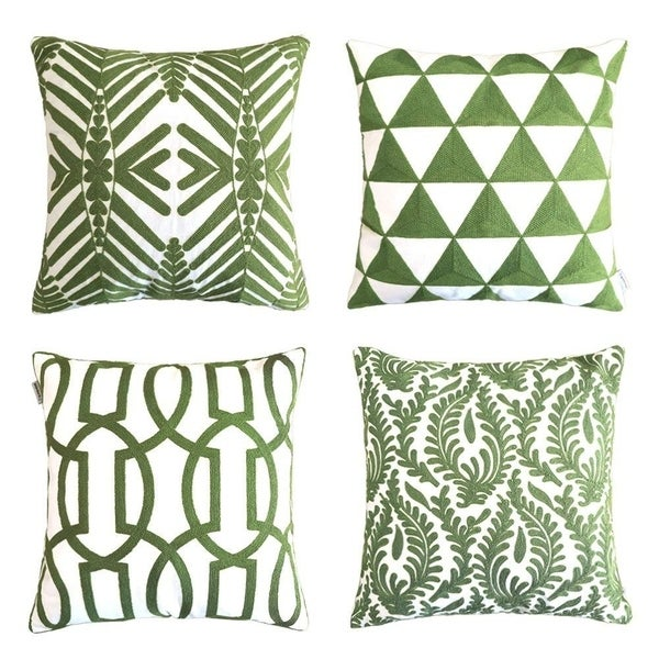 Cushion Covers 18 x 18 inch, Set of 4, Army Green