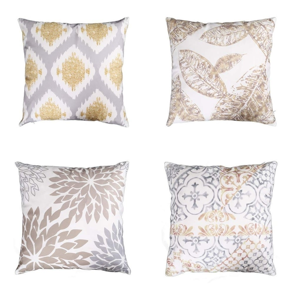 Throw Pillow Covers Set Gold