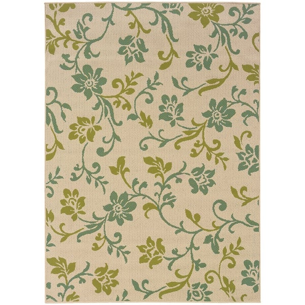 "Rectangle Rug/ Caspian 2 Ft. 3 In. X 7 Ft. 6 In./ Outdoor/ Floral - 2'3"" x 7'6"""