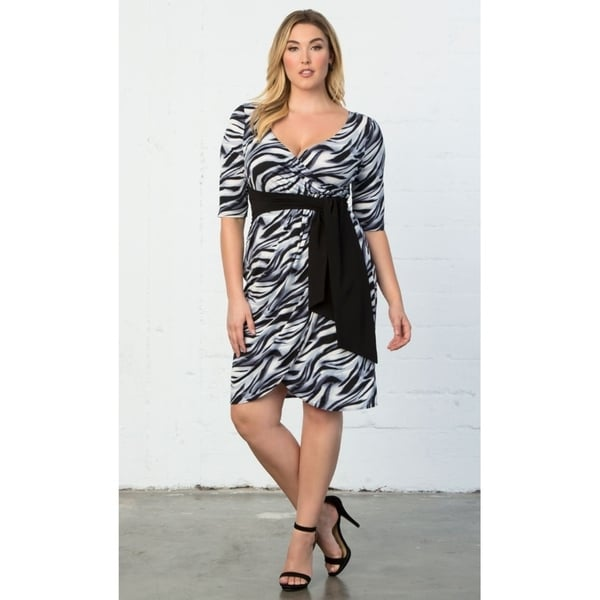76fcdb692bb9 Shop Kiyonna Plus Size Women's Harlow Faux Wrap Dress - Free ...
