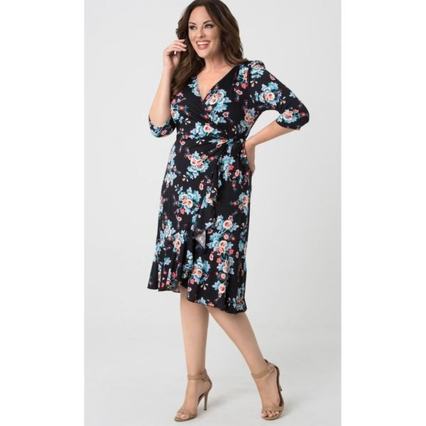b42deb4424d Shop kiyonna plus size womens flirty flounce wrap dress free jpg 600x600 Kiyonna  plus