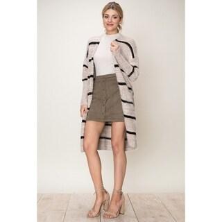 Olivia Pratt Fuzzy Stripe Cardigan