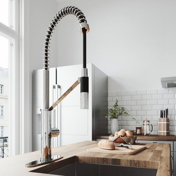 VIGO Livingston Chrome Magnetic Kitchen Faucet with Deck Plate