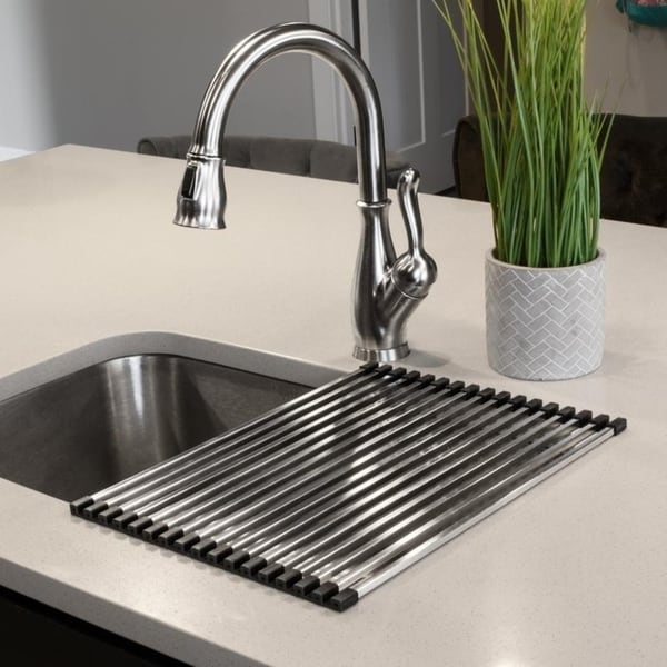 Stainless Steel Square Roll Up Over The Sink Drying Rack