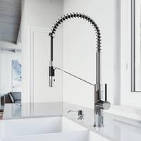 VIGO Livingston Chrome Magnetic Kitchen Faucet with Soap Dispenser