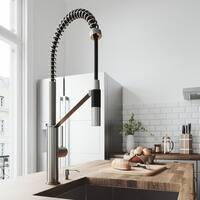 VIGO Livingston Stainless Steel Kitchen Faucet with Soap Dispenser