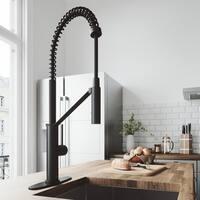 VIGO Livingston Matte Black Magnetic Kitchen Faucet with Deck Plate