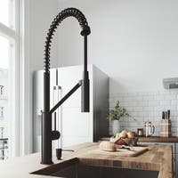VIGO Livingston Matte Black Kitchen Faucet with Soap Dispenser