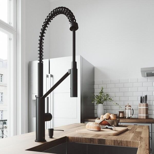 VIGO Livingston Matte Black Kitchen Faucet with Soap Dispenser
