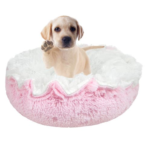 """Bessie and Barnie Ultra Plush Snow White/ Bubble Gum Deluxe Shag Dog/ Pet Lily Pod Bed - 24"""""""