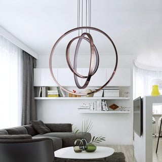 Meliton Rose Gold 3-Light LED Pendant Lighting (Adjustable Height)