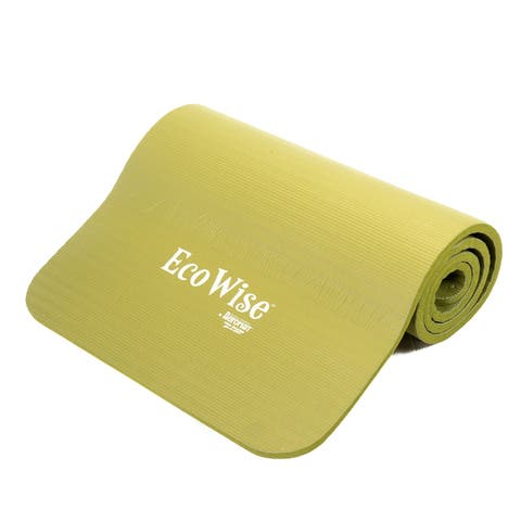 """EcoWise Deluxe Workout/Pilates Mat, Extra Thick, Portable, Olive Color, 5/8"""" thick x 22"""" width x 72"""" length - Green"""