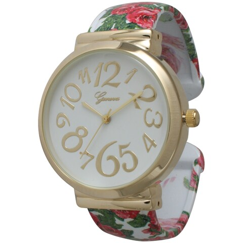 Olivia Pratt Floral Whimsical Dial Bangle Watch - One size