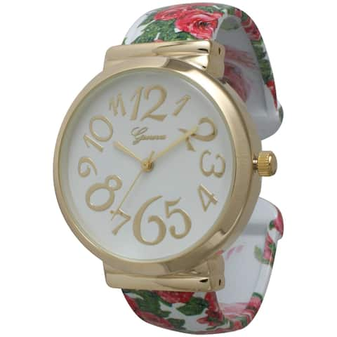 Olivia Pratt Floral Whimsical Dial Bangle Watch