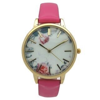 Olivia Pratt Floral Dial Leather Strap Watch - One size
