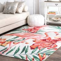 nuLOOM Multi Indoor/Outdoor Contemporary Tropical Magestic Palm Tree Flamingo Print Area Rug - 8' x 10'