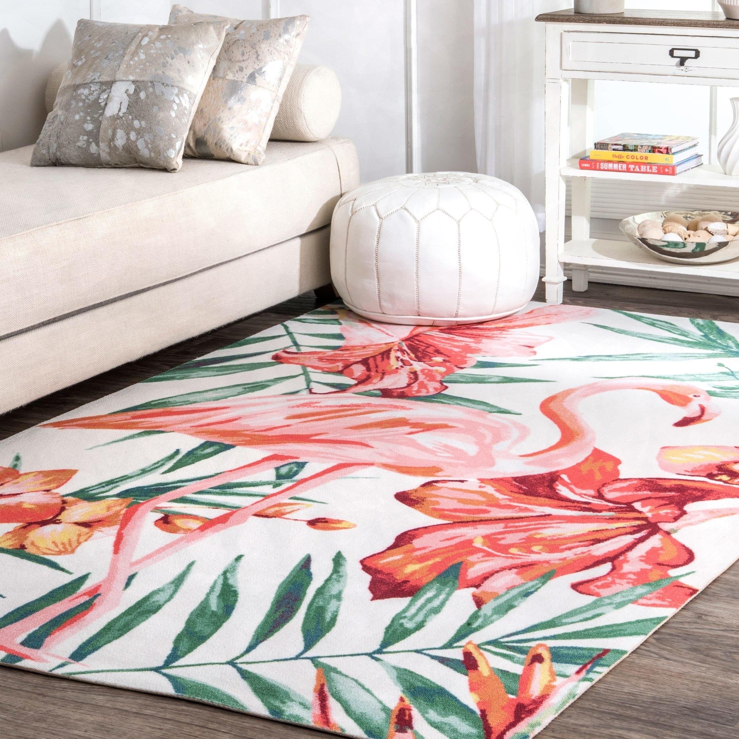 Rugs Carpets Tropical Leaves Flamingo Geometric Patterns
