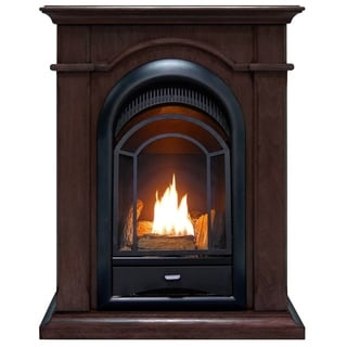 ProCom FS100T-CH Ventless Fireplace System 10K BTU Dual-Fuel Thermostat Insert and Chocolate Mantel