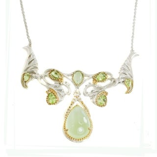 Michael Valitutti Palladium Silver Phrenite, White Sapphire, & Peridot Necklace
