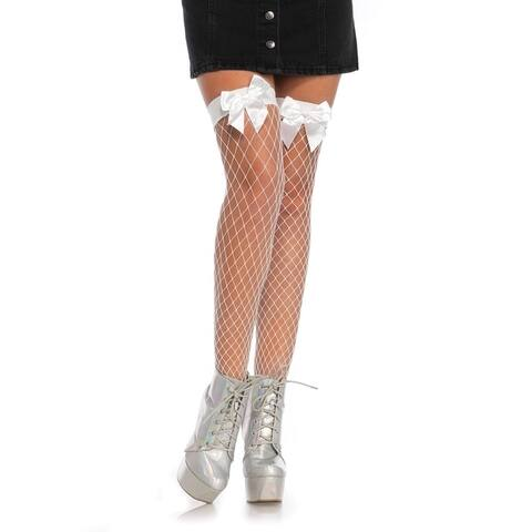 Leg Avenue Women's Fence net bow top thigh highs ,O/S ,WHITE
