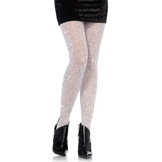 Leg Avenue Women's Lurex tights ,O/S ,SILVER