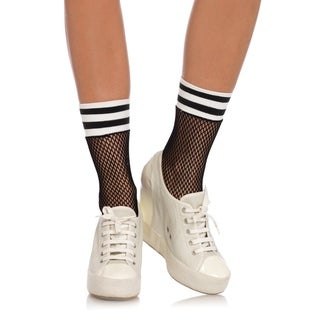 Leg Avenue Women's Fishnet athletic anklets ,O/S ,BLK/WHITE