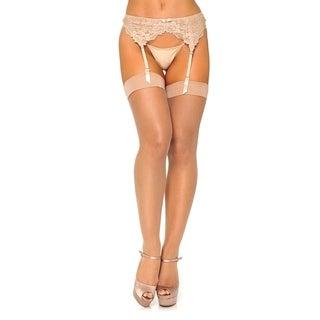 Leg Avenue Women's Micro net spandex stockings ,1X-2X ,NUDE