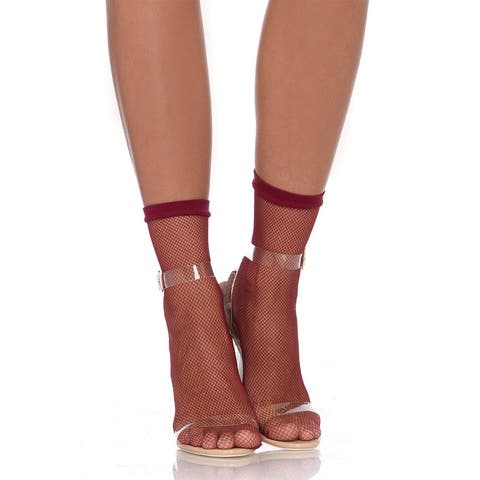 Leg Avenue Women's Fishnet anklets ,O/S ,BURGUNDY