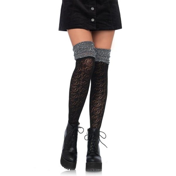 e934ad2cce4 Shop Leg Avenue Women s Sweetheart knit over the knee lurex scrunch sock